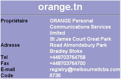 Whois Ati du nom de domaine Orange.tn