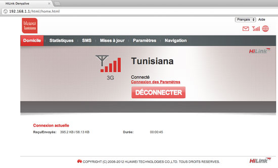 Interface de gestion de la clé Dual Carrier de Tunisiana
