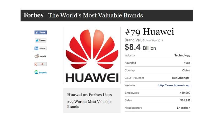 Huawei monte dans le classement Forbes (2018) des marques